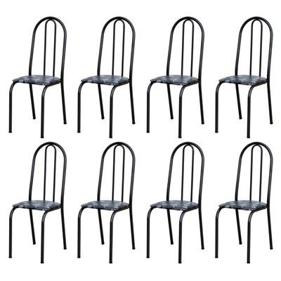 Kit 8 Cadeiras 050 América Cromo Preto/Florido - Artefamol