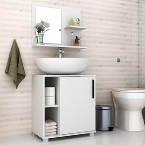 Kit Banheiro Gabinete 1 porta e Armário Aéreo com Espelho BBN 19 Branco – BRV Móveis