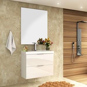 Kit Banheiro Gabinete 100cm Cuba E Armário Com Espelho