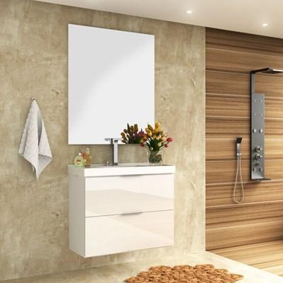Kit Banheiro Gabinete 80cm Pia e Espelho Pietra Branco - Bosi