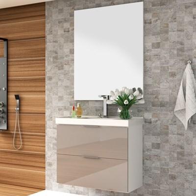Kit Banheiro Gabinete 80cm Pia e Espelho Pietra Branco/Gianduia - Bosi