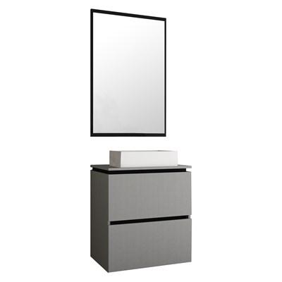 Kit Banheiro Gabinete com Cuba e Espelheira 60cm Urban Argento/Preto - Bosi