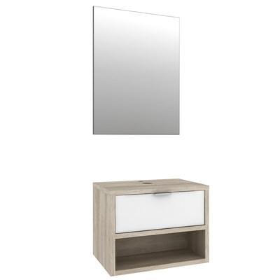 Kit Banheiro Gabinete com Cuba e Espelheira Malta Barrique/Branco - Bosi