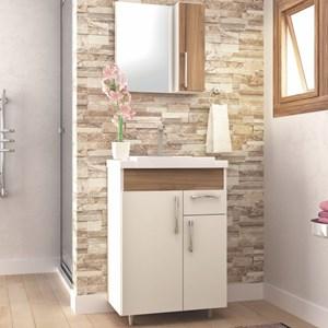 Kit Banheiro Gabinete Pia e Armário com Espelho Fit Branco/Nogal - Bosi