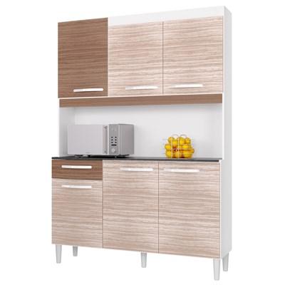 Kit Cozinha Carine Compacta 06 Portas Amêndoa/Capuccino - Poquema
