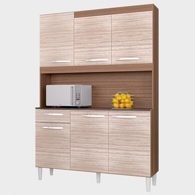 Kit Cozinha Carine Compacta 06 Portas Capuccino/Amêndoa - Poquema