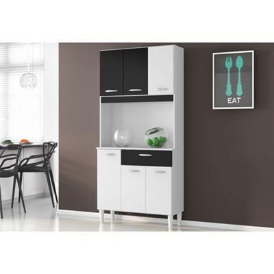 Kit Cozinha Cássia Compacta 06 Portas Branco/Preto - Poquema