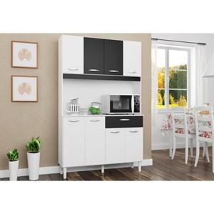 Kit Cozinha Cássia Compacta 08 Portas Branco/Preto - Poquema
