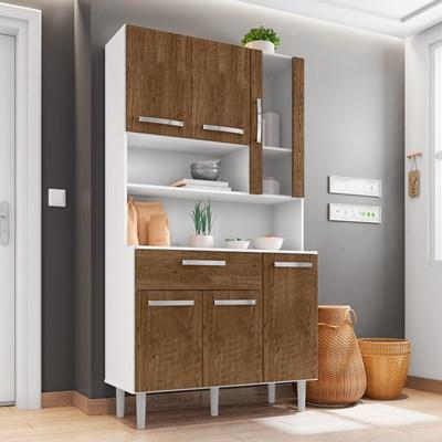 Kit Cozinha Compacta 06 Portas Cancun I03 Branco/Malbec - Mpozenato