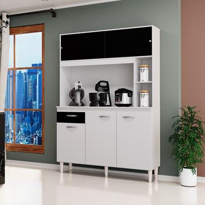 Kit Cozinha Compacta 120cm 5 Portas 1 Gaveta Duda Branco/Preto - Poquema