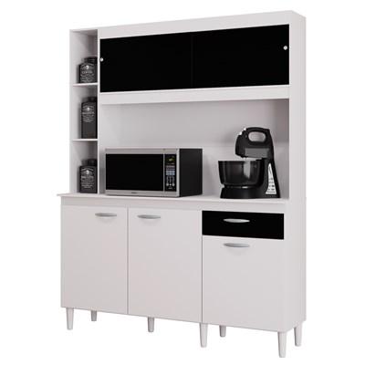 Kit Cozinha Compacta 140cm 5 Portas 1 Gaveta Duda Branco/Preto - Poquema