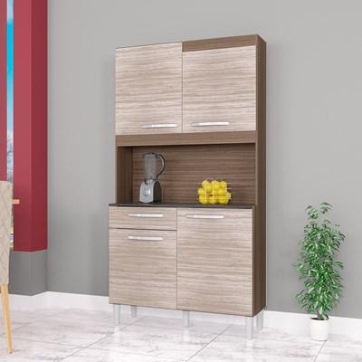 Kit Cozinha Compacta 4 Portas 1 Gaveta Carine Capuccino/Amêndoa - Poquema