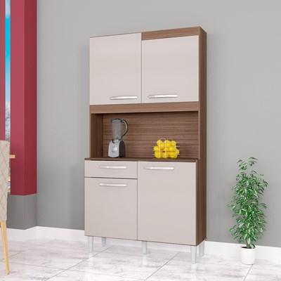 Kit Cozinha Compacta 4 Portas 1 Gaveta Carine Capuccino/Off White - Poquema