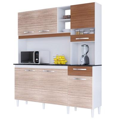 Kit Cozinha Compacta 6 Portas 1 Gaveta Bárbara Amêndoa/Capuccino - Poquema