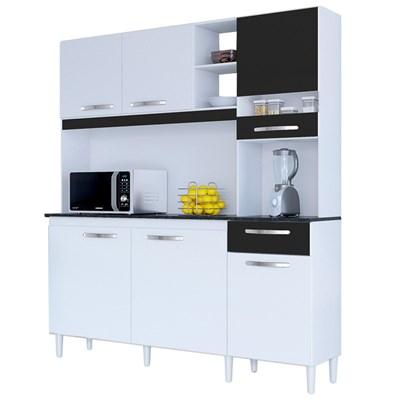Kit Cozinha Compacta 6 Portas 1 Gaveta Bárbara Branco/Preto - Poquema