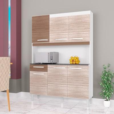 Kit Cozinha Compacta 6 Portas 1 Gaveta Carine Amêndoa/Capuccino - Poquema