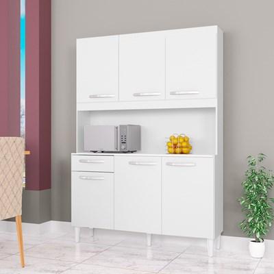 Kit Cozinha Compacta 6 Portas 1 Gaveta Carine Branco - Poquema