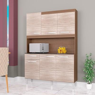 Kit Cozinha Compacta 6 Portas 1 Gaveta Carine Capuccino/Amêndoa - Poquema