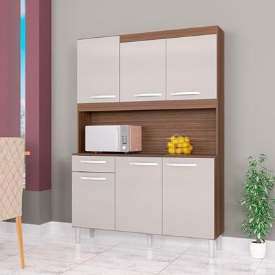 Kit Cozinha Compacta 6 Portas 1 Gaveta Carine Capuccino/Off White - Poquema