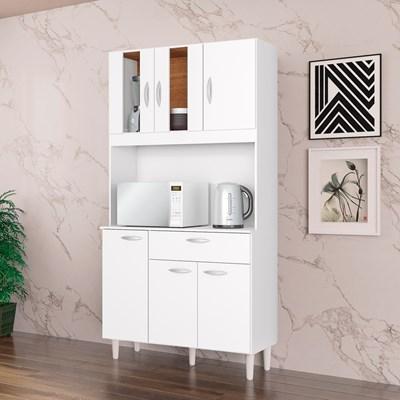 Kit Cozinha Compacta 6 Portas 1 Gaveta Magda Branco - Poquema
