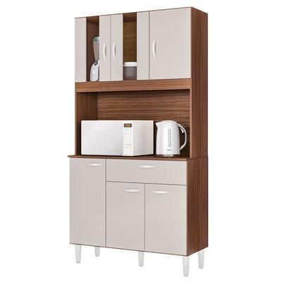 Kit Cozinha Compacta 6 Portas 1 Gaveta Magda Capuccino/Off White - Poquema