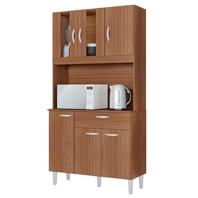 Kit Cozinha Compacta 6 Portas 1 Gaveta Magda Capuccino - Poquema