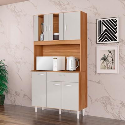 Kit Cozinha Compacta 6 Portas 1 Gaveta Magda Damasco/Off White - Poquema