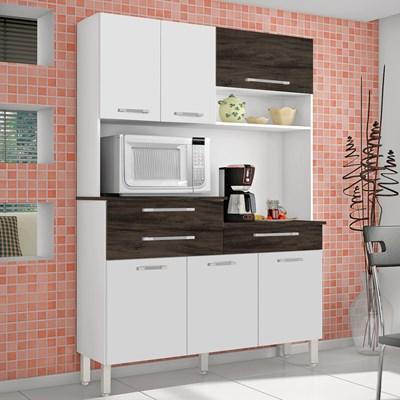 Kit Cozinha Compacta 6 Portas Orion Branco/White/Petróleo - Kit's Paraná