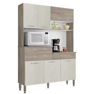 Kit Cozinha Compacta 6 Portas Orion Nogal/Arena/Nogal - Kit's Paraná