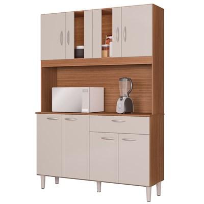 Kit Cozinha Compacta 8 Portas 1 Gaveta Magda Capuccino/Off White - Poquema