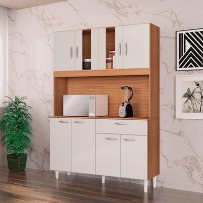 Kit Cozinha Compacta 8 Portas 1 Gaveta Magda Damasco/Off White - Poquema