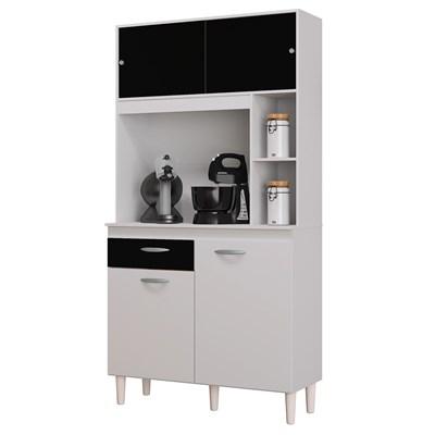 Kit Cozinha Compacta 90cm 4 Portas 1 Gaveta Duda Branco/Preto - Poquema
