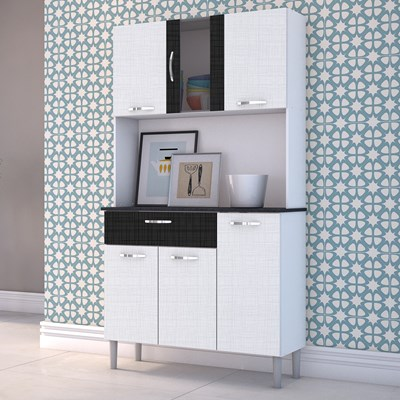 Kit Cozinha Compacta Armário Pan 06 Portas Branco com Linho Branco e CP Linho Preto - Kit's Paraná
