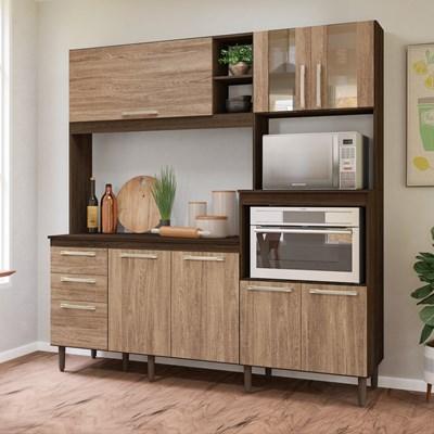 Kit Cozinha Compacta com Tampo Piatã 7 Portas Amêndoa/Carvalho Rústico - Nicioli