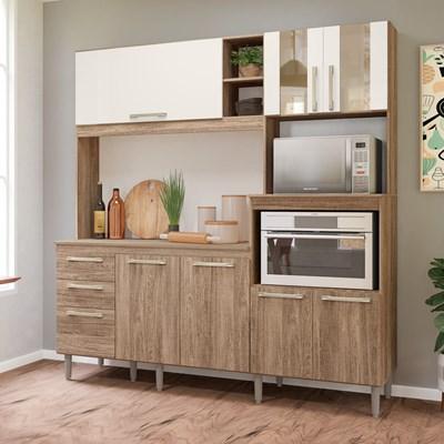 Kit Cozinha Compacta com Tampo Piatã 7 Portas Carvalho Rústico/Off White - Nicioli