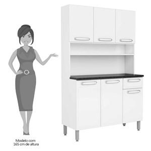 Kit Cozinha Compacta Evidence Aço 6 Portas 1 Gaveta 7144 Branco - Bertolini