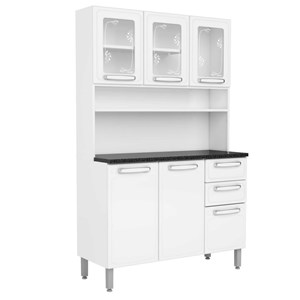 Kit Cozinha Compacta Evidence Aço 6 Portas 2 Gavetas 7146 Branco - Bertolini
