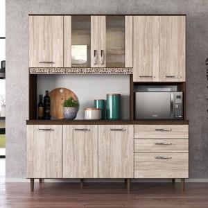Kit Cozinha Compacta Fit 8 Portas com Aplique Amêndoa/Arezzo Rústico - Nicioli