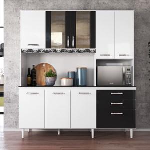 Kit Cozinha Compacta Fit 8 Portas com Aplique Branco/Preto - Nicioli