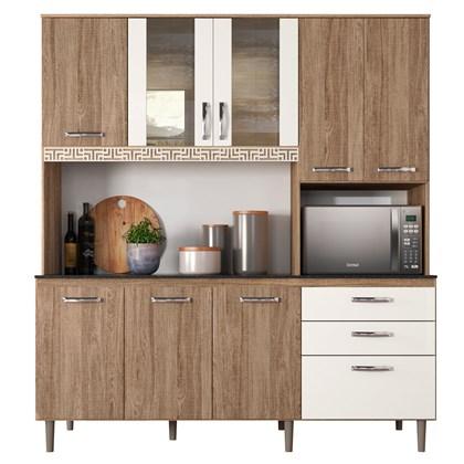 Kit Cozinha Compacta Fit 8 Portas com Aplique Carvalho Rústico/Off White - Nicioli