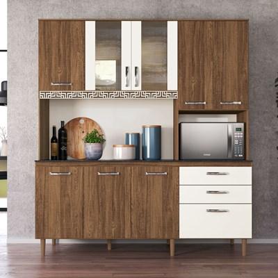 Kit Cozinha Compacta Fit 8 Portas com Aplique Évora Rústico/Off White - Nicioli