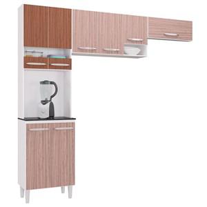 Kit Cozinha Compacta Isadora 8 Portas Amêndoa/Capuccino - Poquema