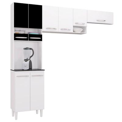 Kit Cozinha Compacta Isadora 8 Portas Branco/Preto - Poquema