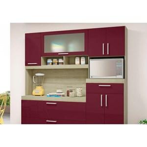Kit Cozinha Compacta Luiza Carvalho/Fucsia - MoveMax