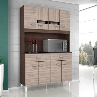 Kit Cozinha Compacta Manu 08 Portas Amêndoa com Capuccino - Poquema