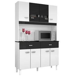 Kit Cozinha Compacta Manu 08 Portas Branco com Preto - Poquema