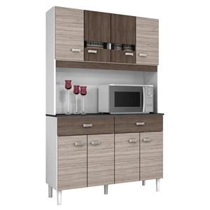 Kit Cozinha Compacta Manu 08 Portas Capuccino/Amêndoa - Poquema