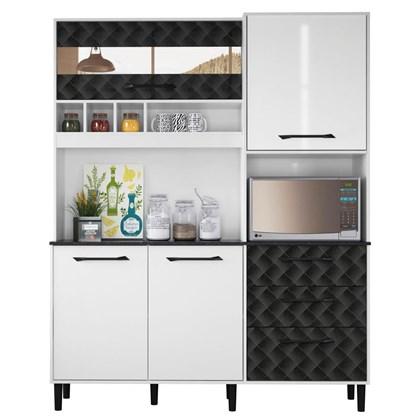 Kit Cozinha Compacta Mauí 160cm 5 Portas Branco/Preto - Nicioli