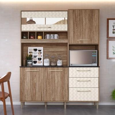 Kit Cozinha Compacta Mauí 160cm 5 Portas Carvalho Rústico/Off White - Nicioli