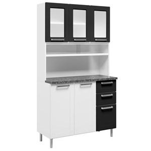 Kit Cozinha Compacta Múltipla Aço 8 Portas e Vidro 6145 Branco/Preto - Bertolini
